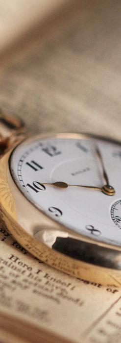 ロレックスの彫りと雰囲気の良い金無垢アンティーク懐中時計【1923年頃】-P2264-14