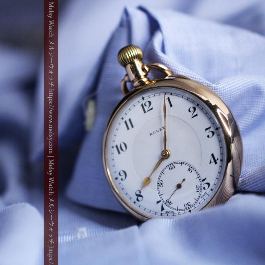 ロレックスの彫りと雰囲気の良い金無垢アンティーク懐中時計【1923年頃】-P2264-15
