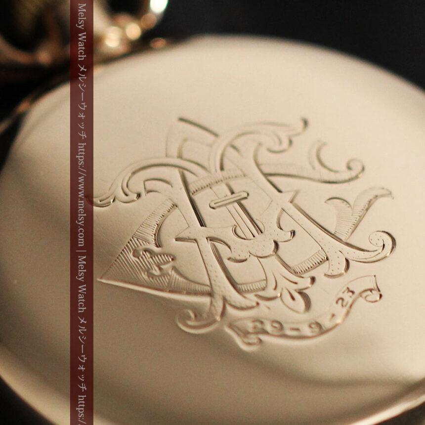 ロレックスの彫りと雰囲気の良い金無垢アンティーク懐中時計【1923年頃】-P2264-16