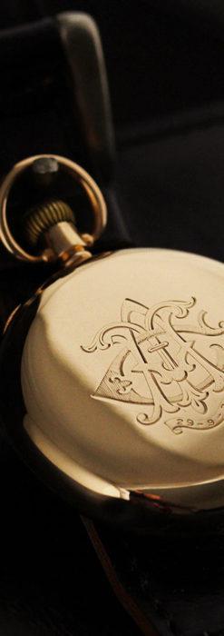 ロレックスの彫りと雰囲気の良い金無垢アンティーク懐中時計【1923年頃】-P2264-17