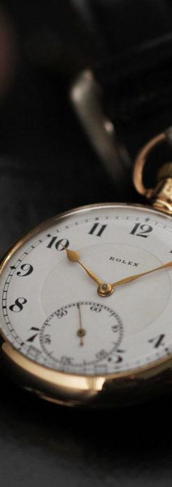 ロレックスの彫りと雰囲気の良い金無垢アンティーク懐中時計【1923年頃】-P2264-18