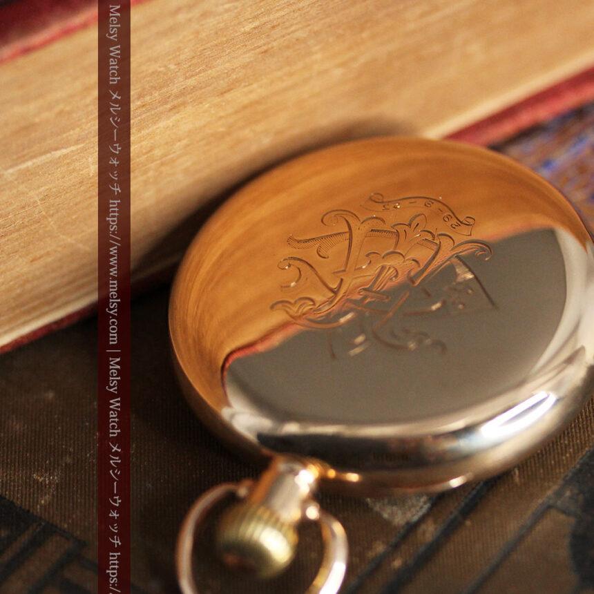 ロレックスの彫りと雰囲気の良い金無垢アンティーク懐中時計【1923年頃】-P2264-2