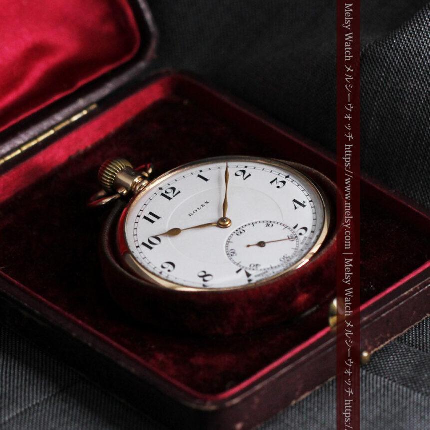 ロレックスの彫りと雰囲気の良い金無垢アンティーク懐中時計【1923年頃】-P2264-26