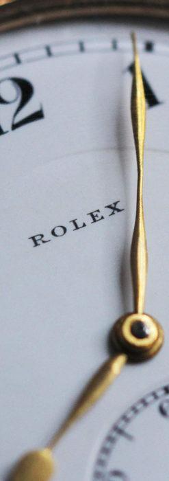 ロレックスの彫りと雰囲気の良い金無垢アンティーク懐中時計【1923年頃】-P2264-3