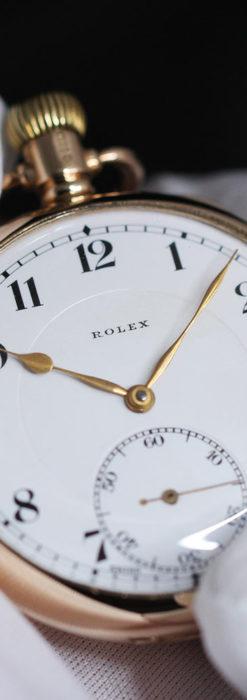 ロレックスの彫りと雰囲気の良い金無垢アンティーク懐中時計【1923年頃】-P2264-4