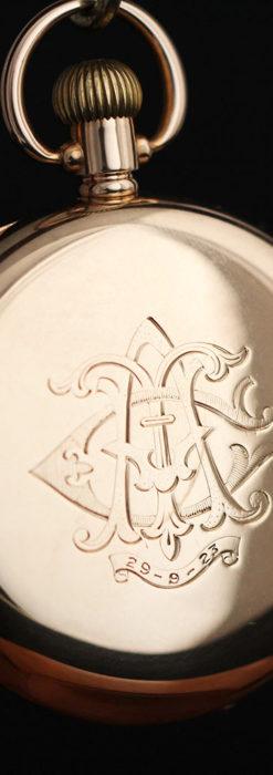 ロレックスの彫りと雰囲気の良い金無垢アンティーク懐中時計【1923年頃】-P2264-5