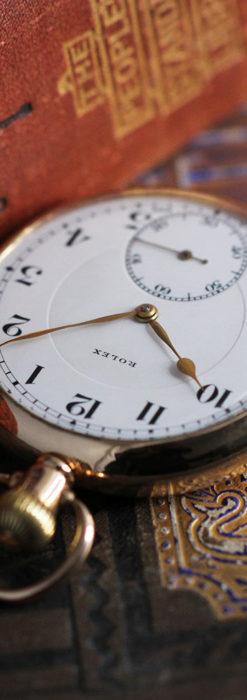 ロレックスの彫りと雰囲気の良い金無垢アンティーク懐中時計【1923年頃】-P2264-6