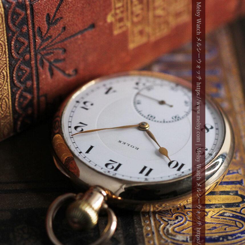 ロレックスの彫りと雰囲気の良い金無垢アンティーク懐中時計【1923年頃】-P2264-7