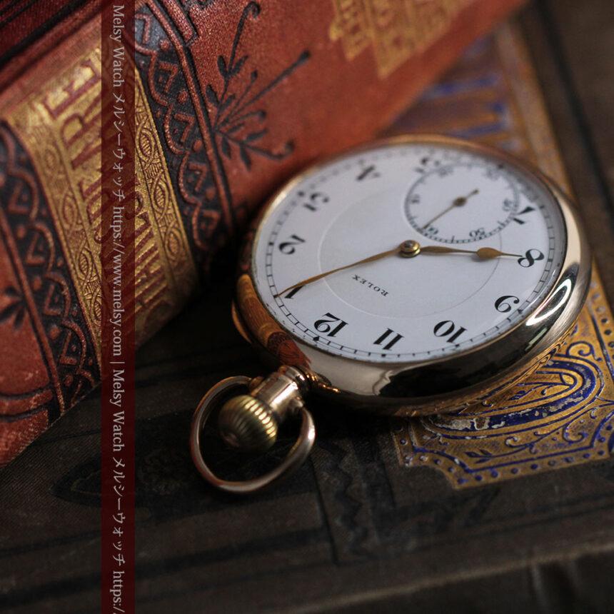 ロレックスの彫りと雰囲気の良い金無垢アンティーク懐中時計【1923年頃】-P2264-8