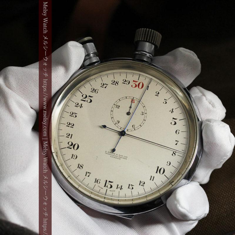 英国ロンドン・スミスのアンティーク特大ストップウォッチ【1920年頃】箱付き-P2266-1