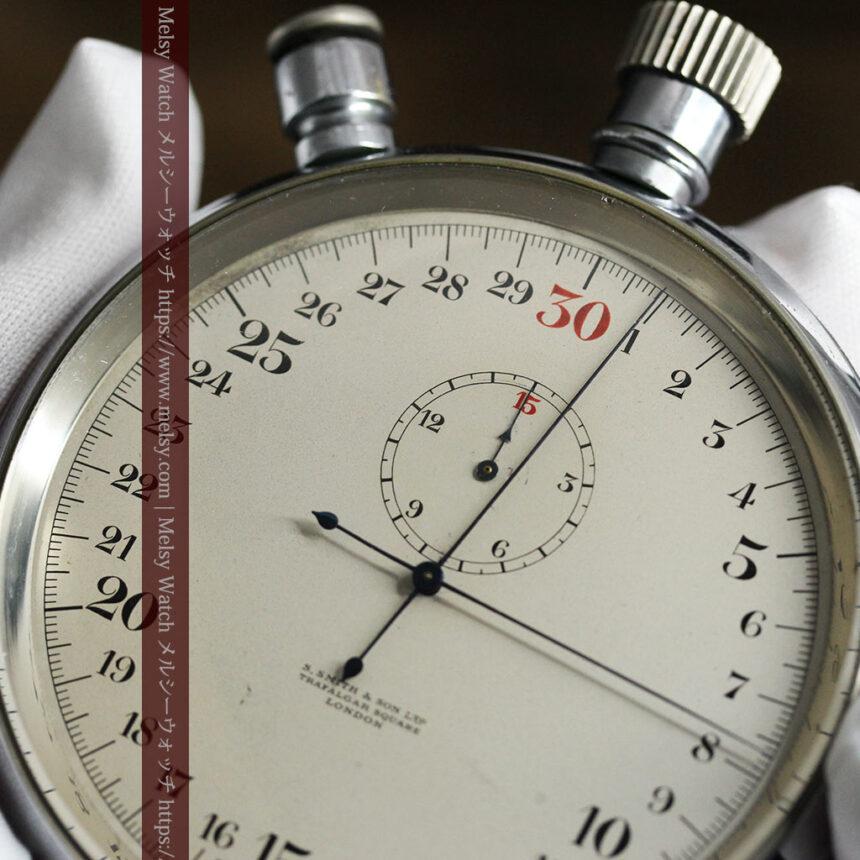 英国ロンドン・スミスのアンティーク特大ストップウォッチ【1920年頃】箱付き-P2266-10