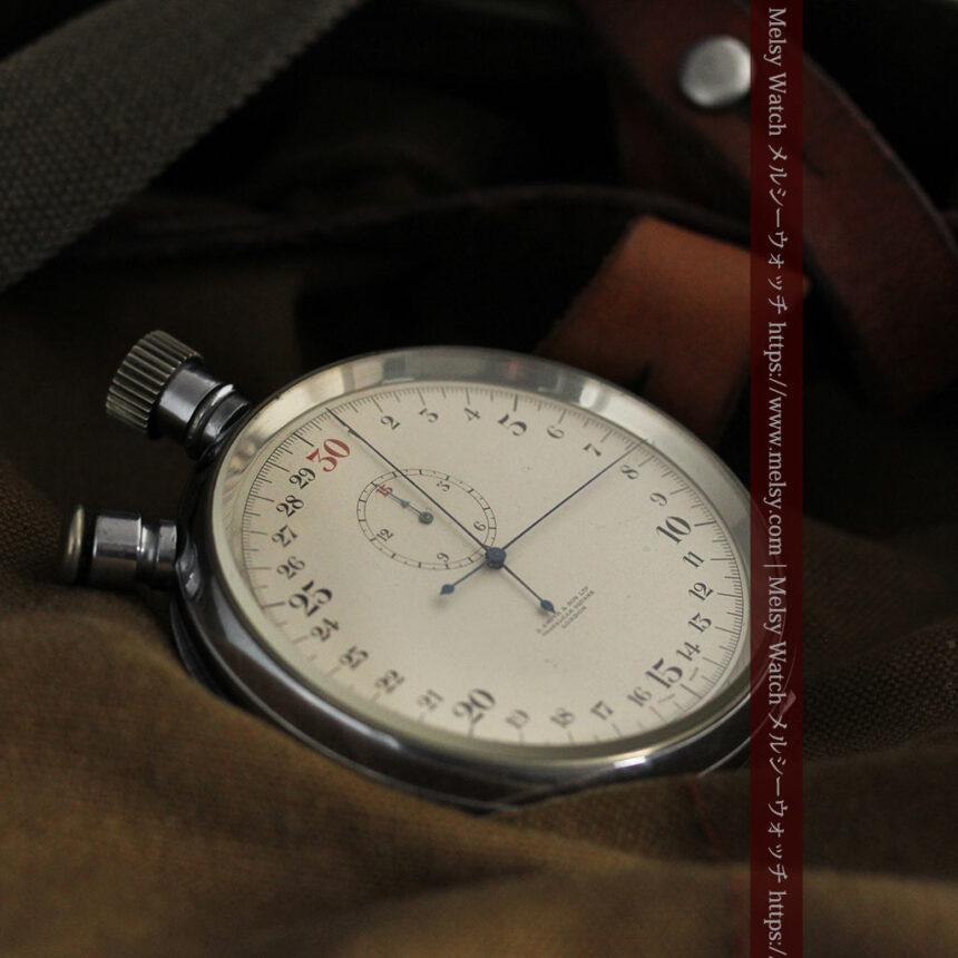 英国ロンドン・スミスのアンティーク特大ストップウォッチ【1920年頃】箱付き-P2266-11