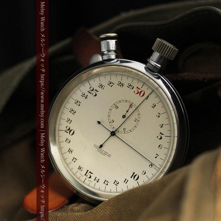 英国ロンドン・スミスのアンティーク特大ストップウォッチ【1920年頃】箱付き-P2266-2
