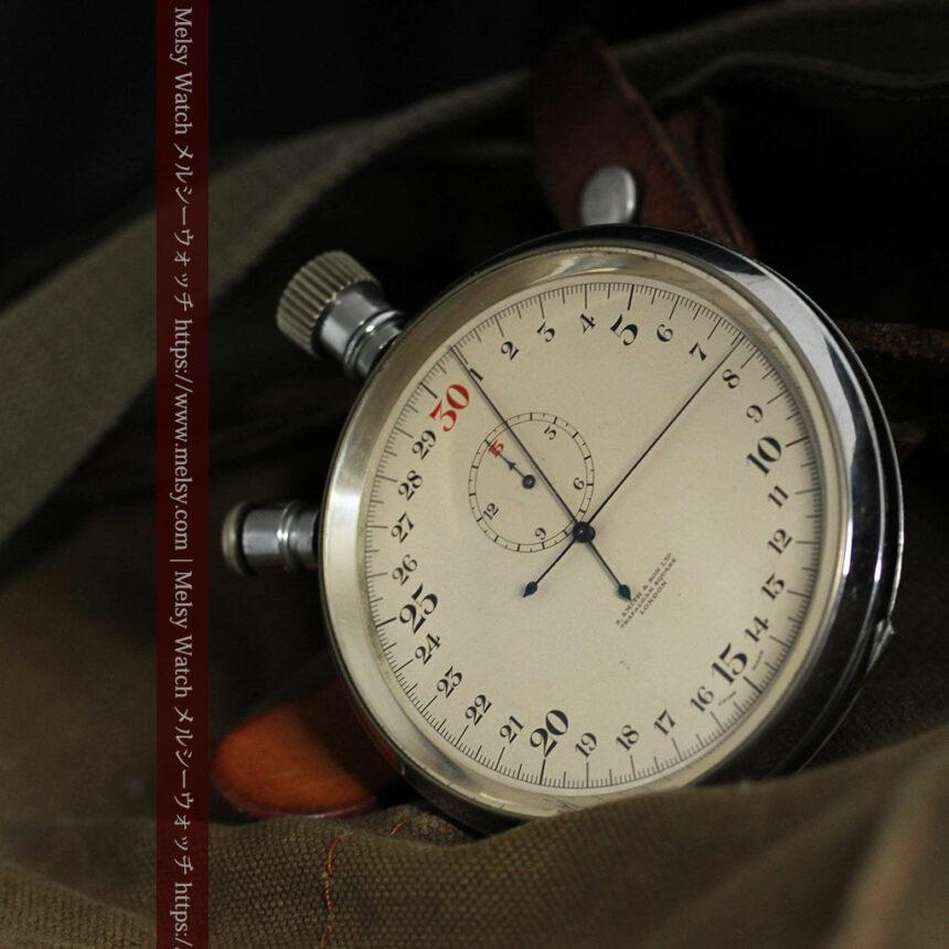 英国ロンドン・スミスのアンティーク特大ストップウォッチ【1920年頃】箱付き-P2266-3