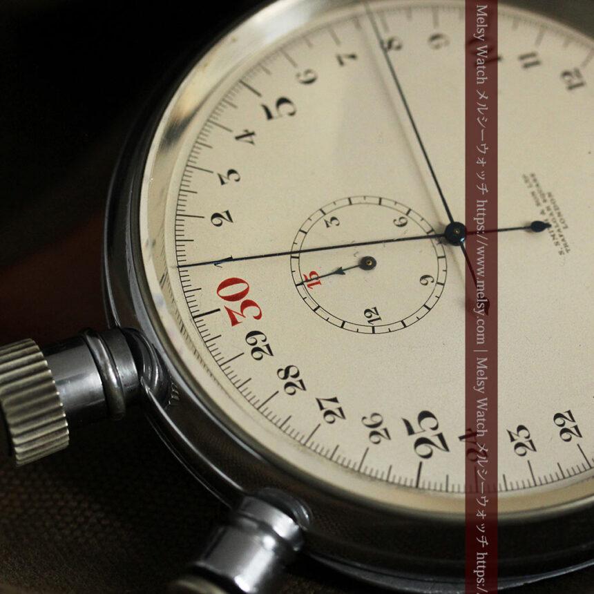英国ロンドン・スミスのアンティーク特大ストップウォッチ【1920年頃】箱付き-P2266-5