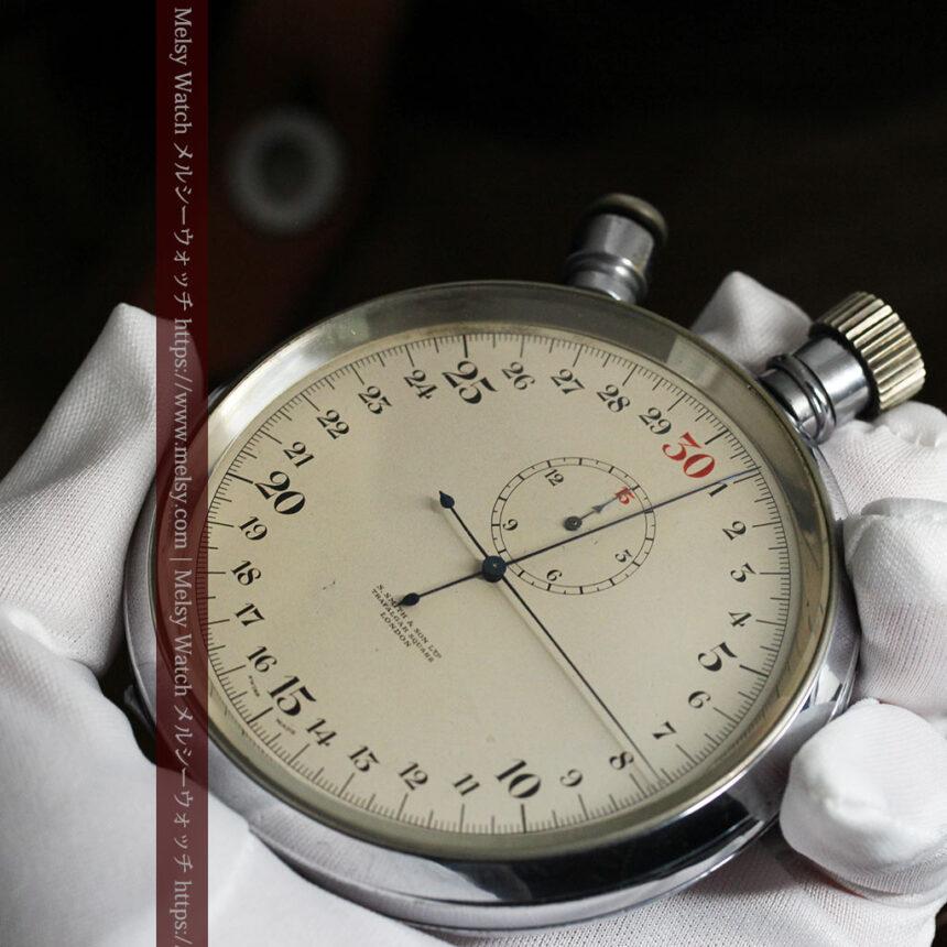 英国ロンドン・スミスのアンティーク特大ストップウォッチ【1920年頃】箱付き-P2266-9