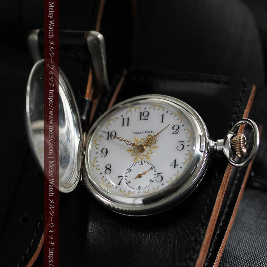 ウォルサムの秀麗な大型銀無垢アンティーク懐中時計 【1909年製】-P2267-11