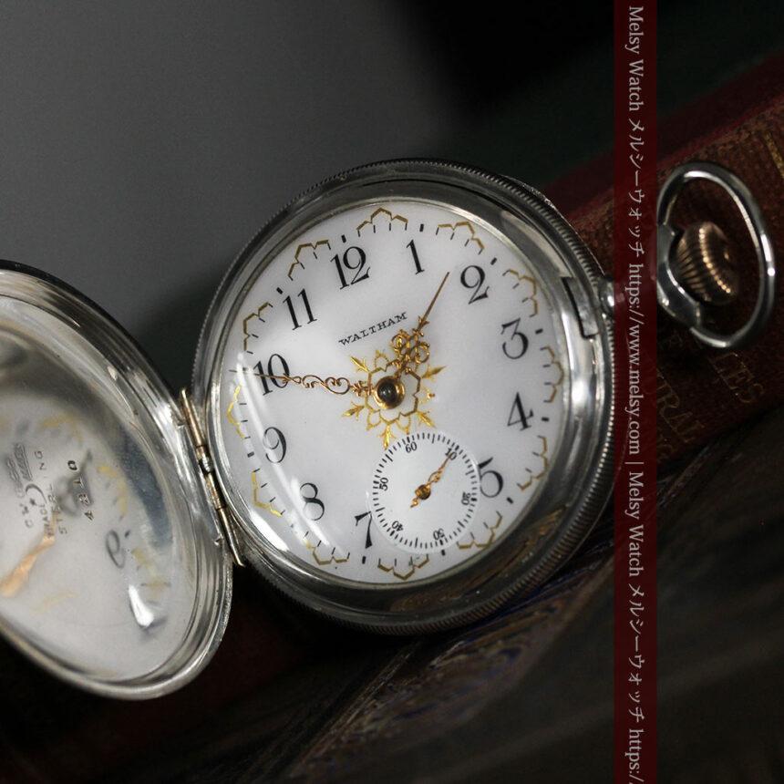 ウォルサムの秀麗な大型銀無垢アンティーク懐中時計 【1909年製】-P2267-13