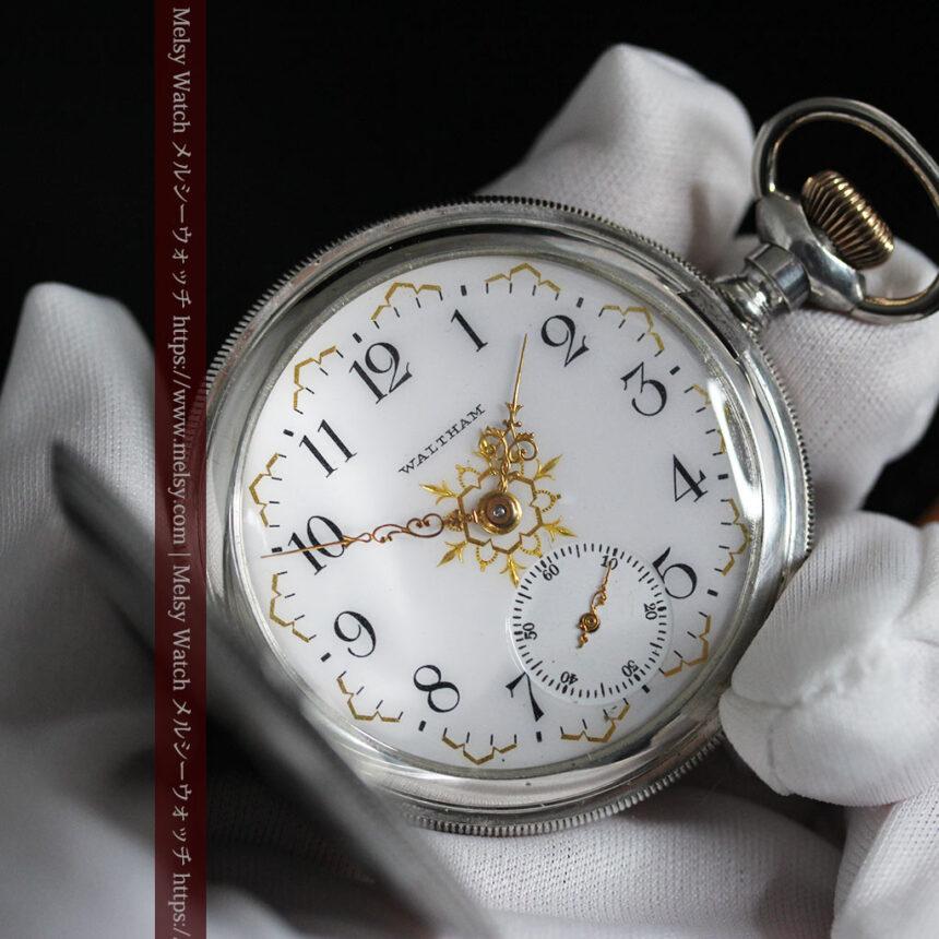 ウォルサムの秀麗な大型銀無垢アンティーク懐中時計 【1909年製】-P2267-14