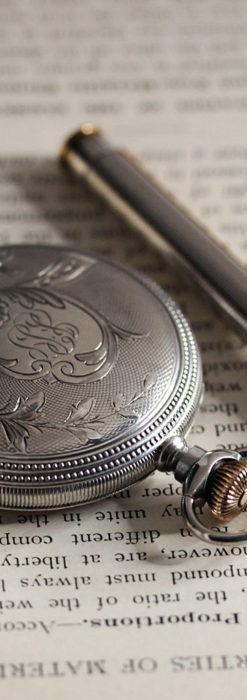 ウォルサムの秀麗な大型銀無垢アンティーク懐中時計 【1909年製】-P2267-15