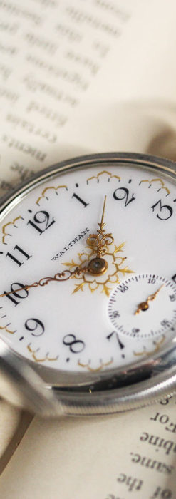 ウォルサムの秀麗な大型銀無垢アンティーク懐中時計 【1909年製】-P2267-16