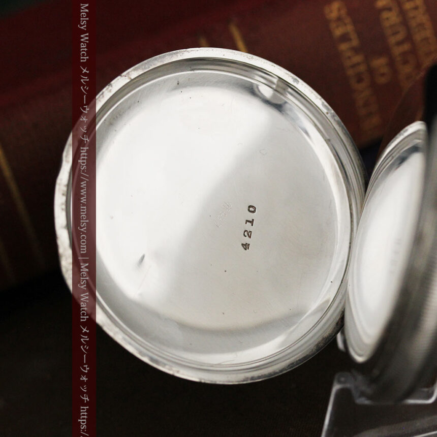 ウォルサムの秀麗な大型銀無垢アンティーク懐中時計 【1909年製】-P2267-17