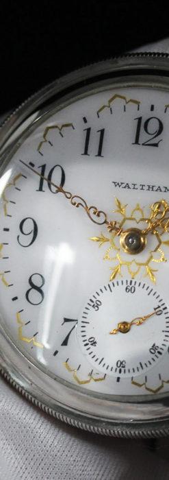 ウォルサムの秀麗な大型銀無垢アンティーク懐中時計 【1909年製】-P2267-2