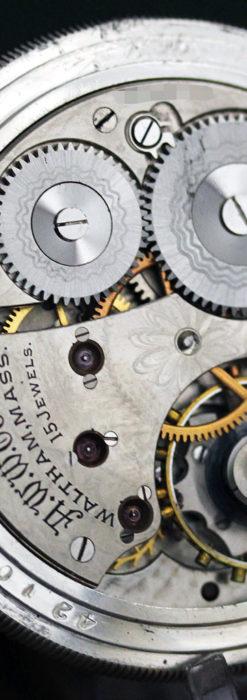 ウォルサムの秀麗な大型銀無垢アンティーク懐中時計 【1909年製】-P2267-20