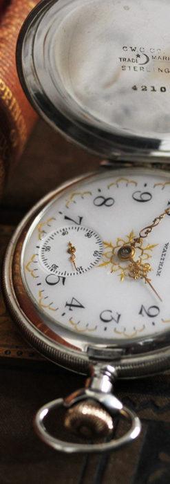 ウォルサムの秀麗な大型銀無垢アンティーク懐中時計 【1909年製】-P2267-3