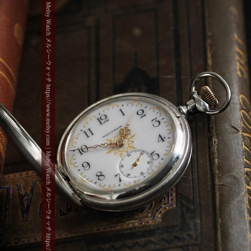 ウォルサムの秀麗な大型銀無垢アンティーク懐中時計 【1909年製】-P2267-4