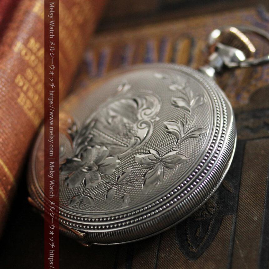 ウォルサムの秀麗な大型銀無垢アンティーク懐中時計 【1909年製】-P2267-5
