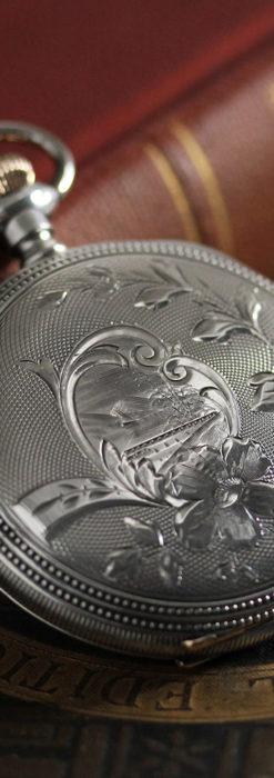 ウォルサムの秀麗な大型銀無垢アンティーク懐中時計 【1909年製】-P2267-7