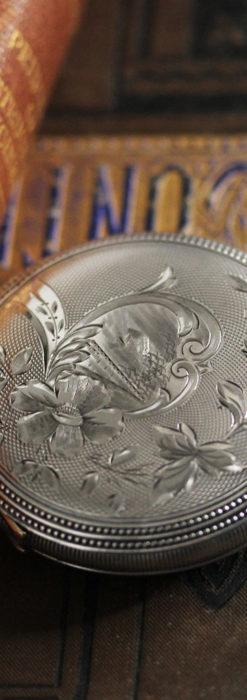 ウォルサムの秀麗な大型銀無垢アンティーク懐中時計 【1909年製】-P2267-8