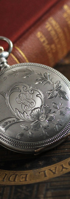 ウォルサムの秀麗な大型銀無垢アンティーク懐中時計 【1909年製】-P2267-9