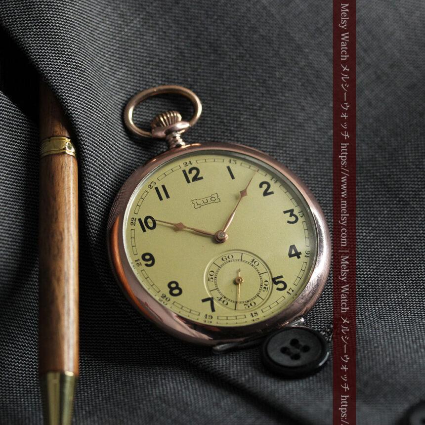 ショパールの品のあるローズ色を組み合わせた銀無垢アンティーク懐中時計 【1910年頃】-P2268-1