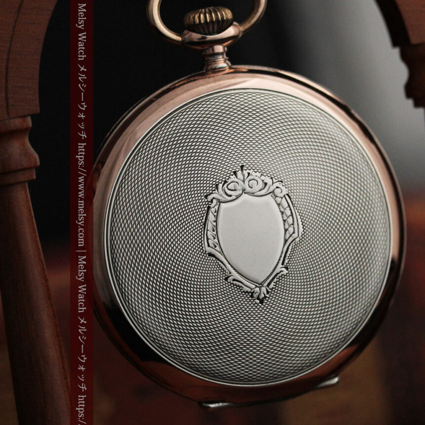 ショパールの品のあるローズ色を組み合わせた銀無垢アンティーク懐中時計 【1910年頃】-P2268-12