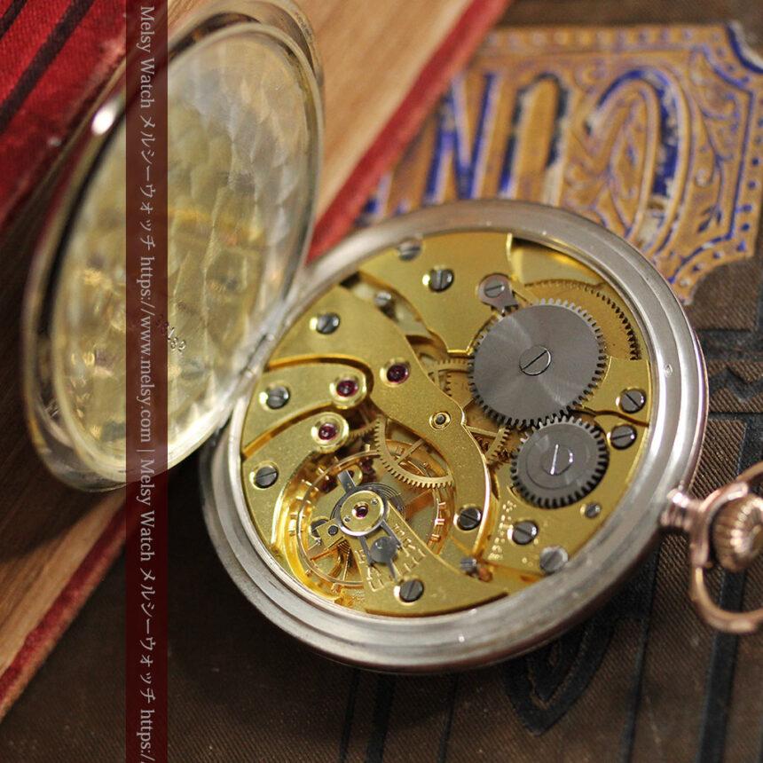 ショパールの品のあるローズ色を組み合わせた銀無垢アンティーク懐中時計 【1910年頃】-P2268-19