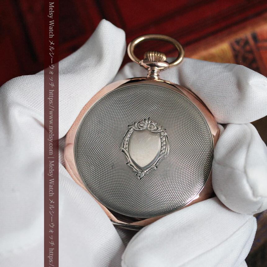 ショパールの品のあるローズ色を組み合わせた銀無垢アンティーク懐中時計 【1910年頃】-P2268-3
