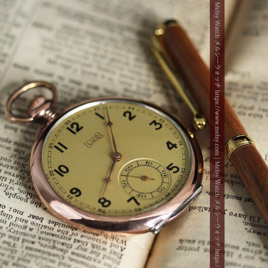 ショパールの品のあるローズ色を組み合わせた銀無垢アンティーク懐中時計 【1910年頃】-P2268-4