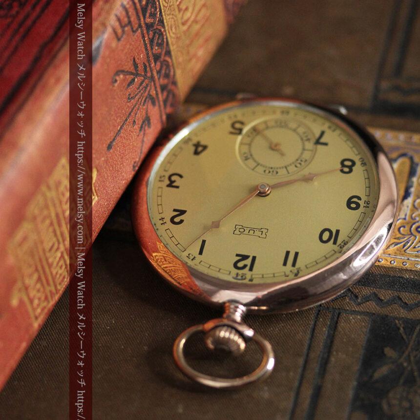 ショパールの品のあるローズ色を組み合わせた銀無垢アンティーク懐中時計 【1910年頃】-P2268-8
