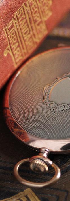 ショパールの品のあるローズ色を組み合わせた銀無垢アンティーク懐中時計 【1910年頃】-P2268-9