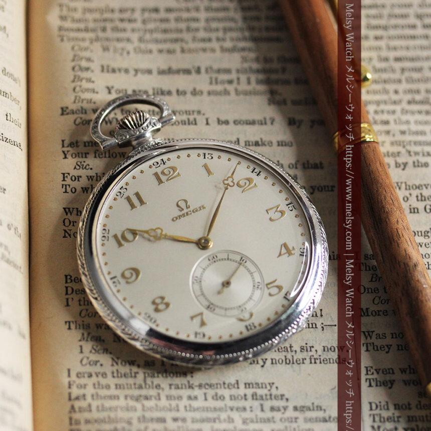オメガの幾何学デザインのお洒落な銀無垢アンティーク懐中時計 【1934年製】-P2270-10