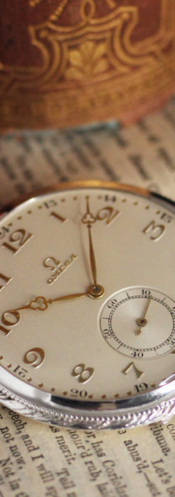 オメガの幾何学デザインのお洒落な銀無垢アンティーク懐中時計 【1934年製】-P2270-12