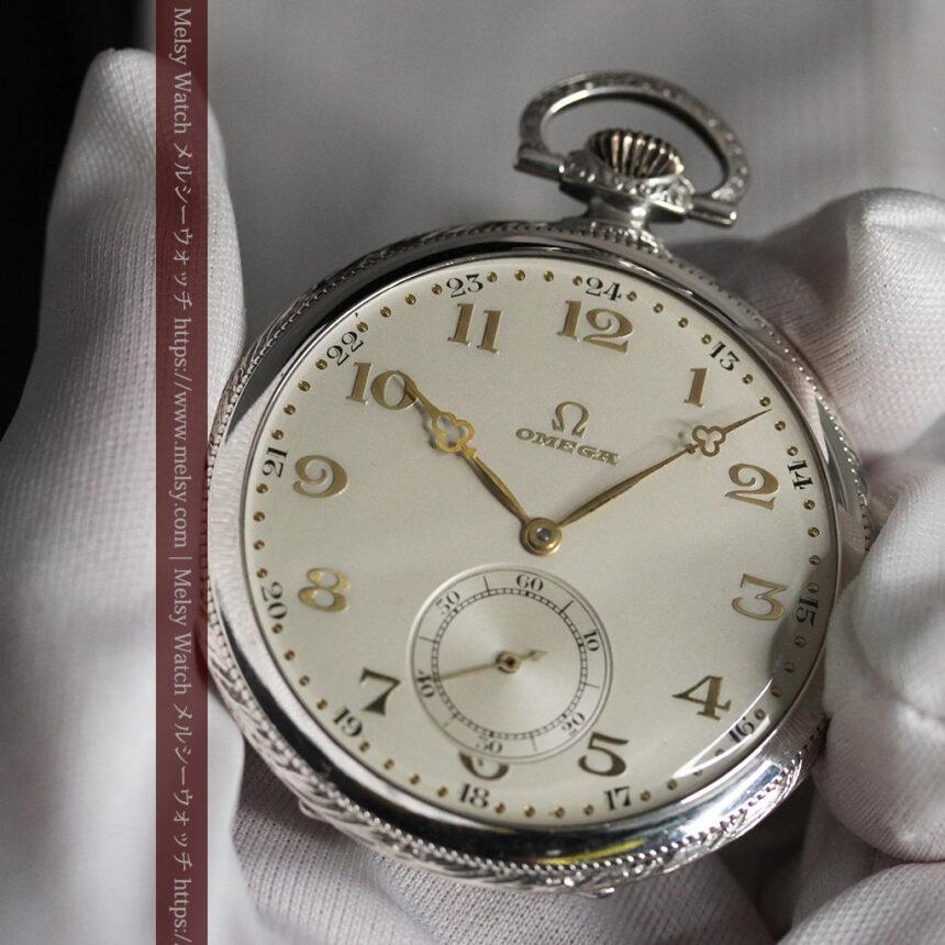オメガの幾何学デザインのお洒落な銀無垢アンティーク懐中時計 【1934年製】-P2270-13