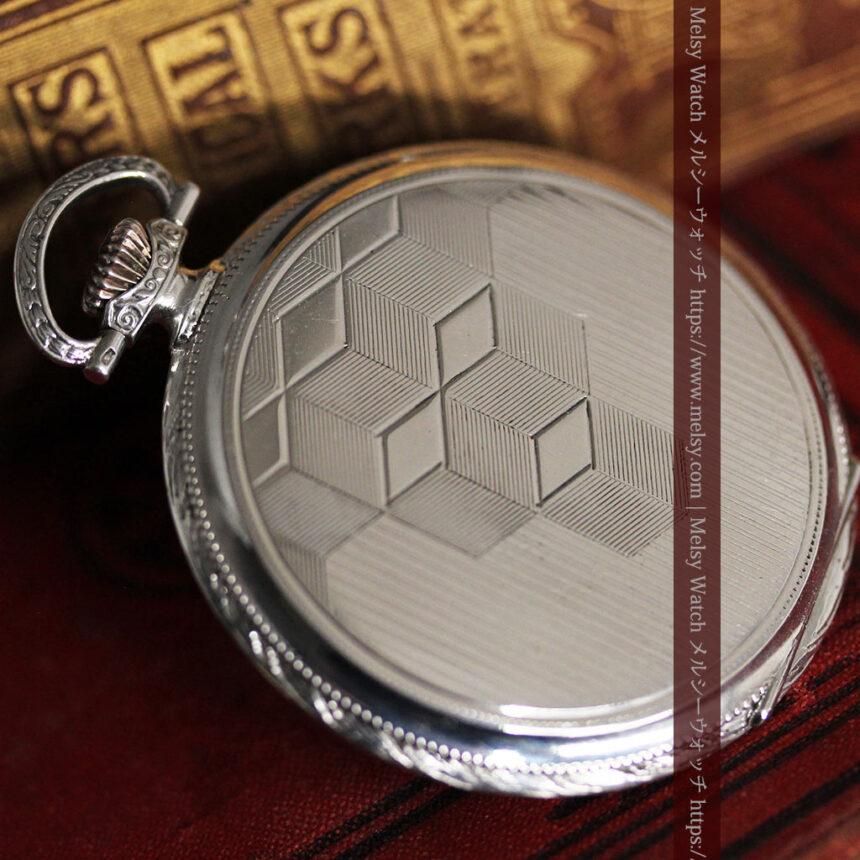 オメガの幾何学デザインのお洒落な銀無垢アンティーク懐中時計 【1934年製】-P2270-14