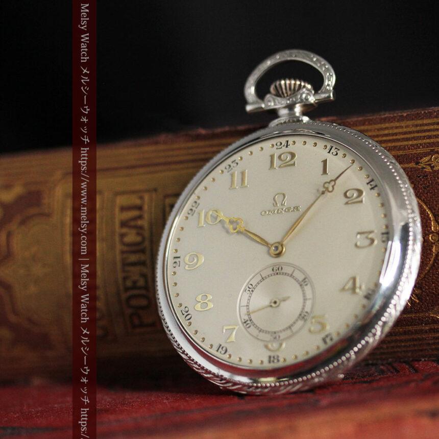 オメガの幾何学デザインのお洒落な銀無垢アンティーク懐中時計 【1934年製】-P2270-4