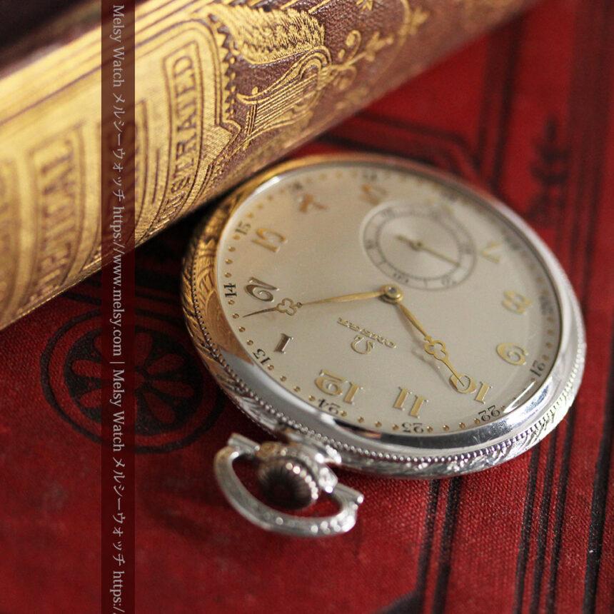 オメガの幾何学デザインのお洒落な銀無垢アンティーク懐中時計 【1934年製】-P2270-5
