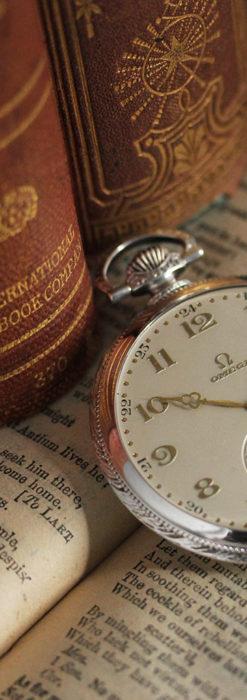 オメガの幾何学デザインのお洒落な銀無垢アンティーク懐中時計 【1934年製】-P2270-9