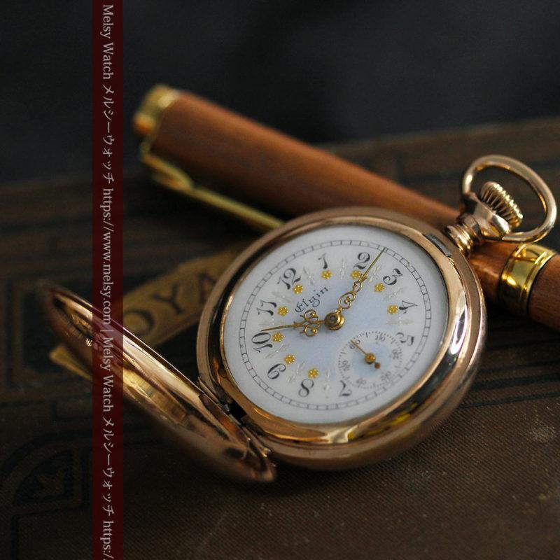金と青の装飾が美しいエルジンのアンティーク懐中時計【1904年製】-P2271-1