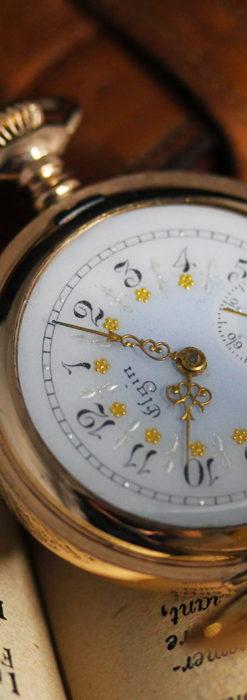 金と青の装飾が美しいエルジンのアンティーク懐中時計【1904年製】-P2271-10